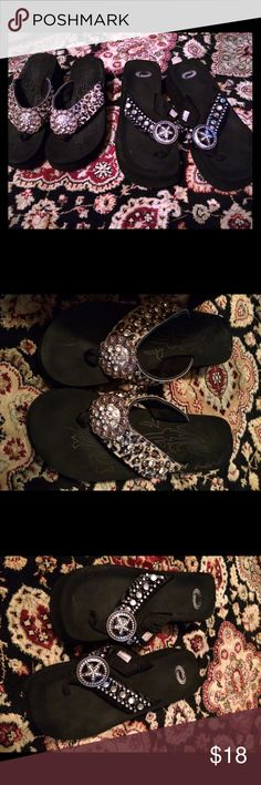 REDUCED! Lot of 2 Flip Flops  With Bling, Size 8. Black flip flop with lots of bling and cheetah print flip flop with lots of bling.  Both are a size 8 and have rarely been worn.  So they are both in EXCELLENT CONDITION. Shoes Wedges