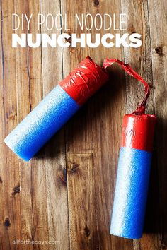 DIY Pool Noodle Nunchucks - I'm not sure I want my kids to have any nunchucks but, if they do, I definitely want them to be pool noodles Easy Crafts For Kids, Projects For Kids, Diy For Kids, Children Crafts, Summer Crafts, Summer Fun, Summer Time, Diy Projects, Piscina Diy