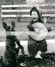 Printable Instant Download - Vintage Black and White Boy Playing Banjo with Dog - Paper Crafts Scrap