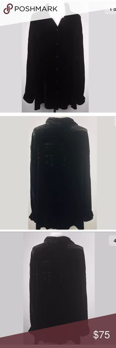 """Eileen fisher black Velvet boxy top 2x Eileen Fisher Woman Size 2X Black Velvet  82% rayon, 18% silk  Measurements (flat/unstretched) Under arms across the back 26 """" Shoulder to hem down the back 29"""" Around bottom hemline 58 """" Eileen Fisher Tops Button Down Shirts"""