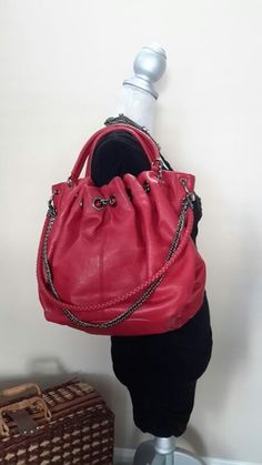 Fantastic Red Leather Boho Chic Satchel in Naperville, IL (sells for $60)