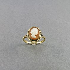 Vintage Shell Cameo Ring 9k Solid Gold Ring by OldJewelryStore