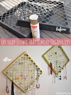 Jewelry organizer upcycled from flower baskets!  Love gold spray paint!   www.clubchicacircle.com