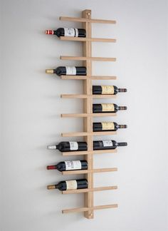 Woodstock Wine Rack at STORE. Stylish wall-mounted raw oak wine rack with space for 22 bottles of your favourite bott. Oak Wine Rack, Wine Bottle Rack, Wine Rack Wall, Wine Wall, Wooden Wine Racks, Wall Mounted Wine Racks, Wall Wine Holder, Empty Wine Bottles, Bottle Wall