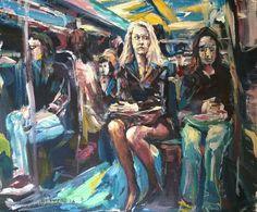 Original Painting collected artist Samuel Burton Commuters under neon, art