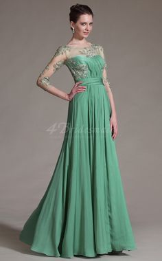 Long Green Chiffon and Lace A-line Bridesmaid Dress with Long Sleeves -JT1340 Kommer også i lilac og kan spesialordres