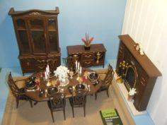 OOAK Barbie Size Dinning Room Set w Table Dishes Hutch Curio Fireplace Rug | eBay