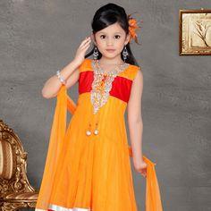 #Orange Net Churidar #AnarkaliKameez