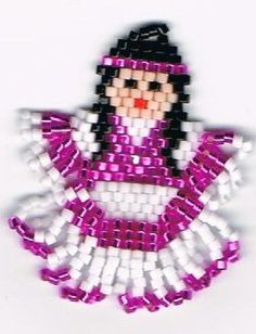 Hand Beaded Shiny Silver Lined Fuscia  Indian Maiden girl