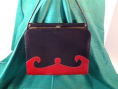 Vintage Naturalizer Handbag 1950s Blue and Red by Thekellybag, $20.00