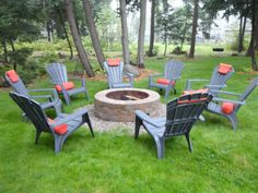 fire pit area and adirondack chairs