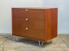 George Nelson Walnut Dresser with Original Hairpin Legs for Herman Miller