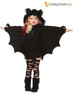 d01de9f39ff Girls Cozy Bat Costume Zip Fleece Hoodie Halloween Kids Animal Fancy Dress
