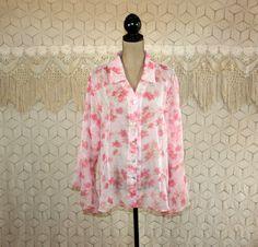 Plus Size 2X Pink Floral Blouse Chiffon Sheer Top by MagpieandOtis