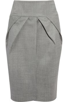 Pleated wool-blend pencil skirt by Giambattista Valli