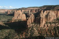 Canyon Rim Trail: description, photos, GPS map and directions for this hike behind Saddlehorn Visitor Center with excellent views of Monument Canyon, Colorado Colorado National Monument, Round Trip, Wilderness, Grand Canyon, Trail, Hiking, Vacation, Park, Summer