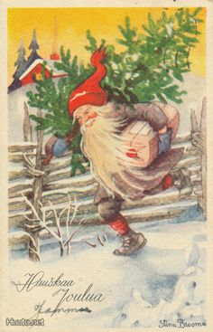 Stina Broome Vintage Christmas Cards, Vintage Cards, Holiday Cards, Baumgarten, Scandinavian Christmas, Christmas Elf, Leprechaun, Tis The Season, Beautiful Christmas