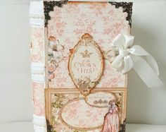 Marie Antoinette book box , Faux book box , Shabby chic storage box , Bible box , Gift for her , Card box , Card storage , Keepsake box