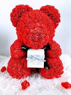 Christmas Teddy Rose Bear with Heart and Real Crown Tiara Headband Encrusted with Rhinestone Crystals Cream, 10 Valentines in Gift Box for Anniversary