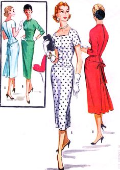 1950s SIZZLING Day or Cocktail Evening Party Dress Pattern McCALLS 3746 Flirty Back Interest Bust 34 Vintage Sewing Pattern
