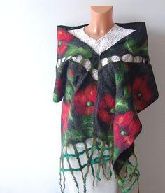 Nuno Felted scarf   Poppy flower by galafilc on Etsy
