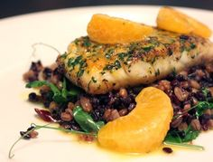 lisa is cooking: Snapper with Farro, Black Rice, Green Garlic, and Tangerine