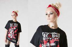"""Romanie Smith modelling RAbid apparel street wear """"horror shirt"""" #model #street wear #sexy"""