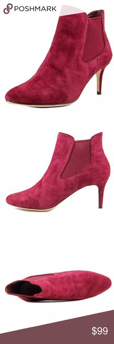 Cole haan suede boots bootie 7M red  pink magenta New! Super comfy boots. Runs a little narrow. So good for 6.5 - 7? Perfecto for spring ❤❤👏🏻💄 Cole Haan Shoes Ankle Boots & Booties