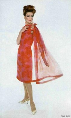 1963 Nina Ricci early 60s designer sheath dress silk floral sheer pink red scarf cape color photo print ad vintage fashion style