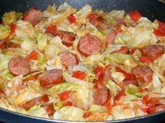 Southern Fried Cabbage With Sausage: 3 tbsp margarine, 1 small cabbage chopped, 1/2 cup onion chopped, 3/4 lb smoked sausage sliced(conecuh), 1 15 oz can diced tomatoes undrained, 1/4 tsp garlic salt, 1/4 tsp Tonys Seasoning, salt & pepper to taste.