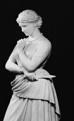 marble statue classic white black girl knife