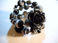 Black and White BEADED Memory Wire Bracelet by Beads4You2008,