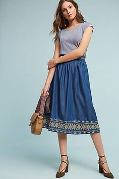 Embroidered Denim Skirt use the golden type 3 denim and embroider the edges