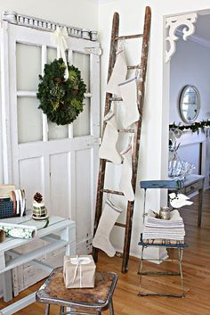 Cute idea for people like me with no fireplace or much room to hang stockings. Sad part is, we don't even have room for the ladder, lol