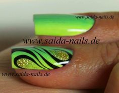 Saida Nails - Neon Green Zebra Ombre with Glitter Nail Art