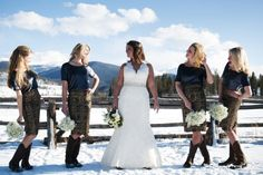 Dress your bridesmaids in tweed skirts, metallic tops, and boots.Photo Credit: Two One Photography