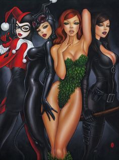 'Bad Girls' by Mimi Yoon, featuring Harley Quinn, Cat Woman, Poison Ivy and Talia al Ghul