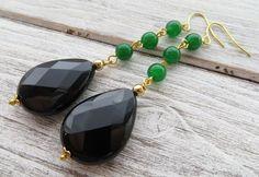 Orecchini a goccia con onice nero, pendenti lunghi giada verde, gioielli, bijoux