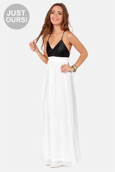 Check it out from Lulus.com! LuLu*s Exclusive! The later you stay out, the longer you can rock the Midnight Rider Black and White Maxi Dress! Black vegan leather forms a sexy, triangle cut bodice with flattering princess seams, and spaghetti straps that crisscross over an open back. Banded waist flows into a white chiffon maxi skirt for endless elegance, with an edge. Invisible back zipper/hook closure. Model is wearing a size small. Self: 71.5% PVC, 20.5% Polyester, 8% PU. Polyester lining…