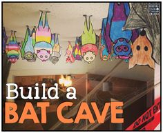 quick and easy activity for students of all ages: Build a Bat Cave! Draw, cut, and hang. Perfect for halloween and fall.A quick and easy activity for students of all ages: Build a Bat Cave! Draw, cut, and hang. Perfect for halloween and fall. Science Halloween, Theme Halloween, Halloween Activities, Bat Activities For Kids, Spooky Halloween, Halloween Celebration, Library Activities, Classroom Activities, Bat Craft