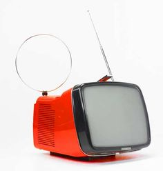 red Brionvega Algol Television designed by Richard Sapper and Marco Zanuso