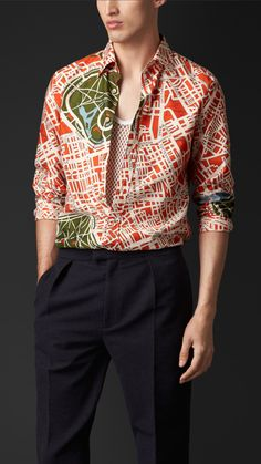 London Map Print Cotton Silk Shirt | Burberry $295 size 42