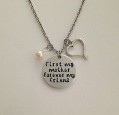 "Custom hand stamped ""First my mother forever my friend"" charm necklace mother daughter sister friend Mother's Day by BellaRayneDesigns on Etsy"