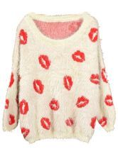 Apricot Long Sleeve Red Lips Print Mohair Sweater $30