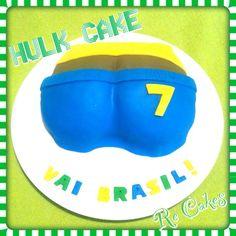 Bolo Bunda do Hulk Hulk's Butt Cake Bakery Cakes, Hulk, Cupcakes, Desserts, Handmade, Food, Theme Cakes, World Cup, Tailgate Desserts