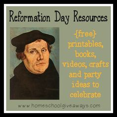 Reformation Day is coming up October 31st. Here are some great ideas to help your kids learn more and celebrate this great day in Church History!