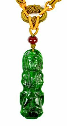 Mercy Yin Buddha on Lotus Chinese Jadeite Jade Pendant Necklace, Carved Jade Pendant 64x22x6 mm, Hand Knotted Adjustable Cord 60-72 cm - Fortune Feng Shui Jade Jewelry by Feng Shui & Fortune Jewelry, http://www.amazon.co.uk/dp/B00EL78Q2C/ref=cm_sw_r_pi_dp_-NEdsb1P5NH8T