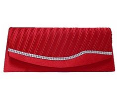 DARK RED SATIN DIAMANTE CLUTCH BAG WITH CHAIN STRAP - A-SHU.CO.UK, £12.00