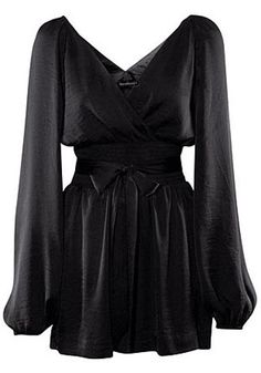 Black Mid Waist Belt Skinny Satin Jumpsuit. Cute for work! With tights and booties in the winter?