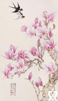 俞致贞 工笔花鸟《辛夷春燕》, ( I have no idea what this says) :), cherry blossom,  birds in flight